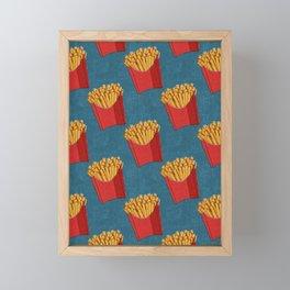 FAST FOOD / Fries - pattern Framed Mini Art Print