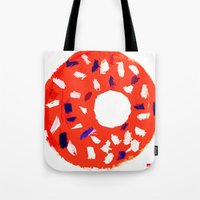 doughnut Tote Bags featuring Doughnut by Myles Hunt