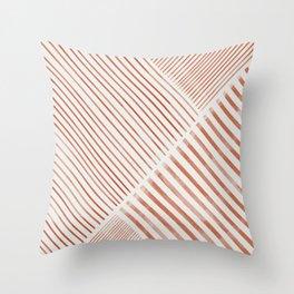 Blush Pink Stripes, Geometric Art Throw Pillow