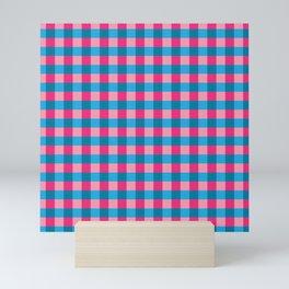 Pink and blue checks pattern Mini Art Print
