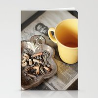 cigarettes Stationery Cards featuring Coffee & cigarettes by Clara Blum