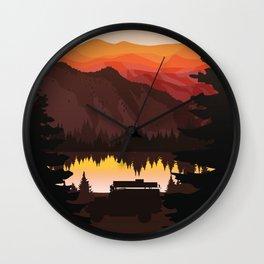 Land rover in lake Wall Clock