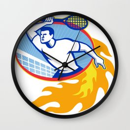 Tennis Player Racquet Retro Wall Clock