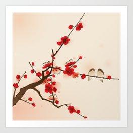 Oriental plum blossom in spring 007 Art Print