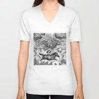 sisters V-neck T-shirts featuring Sisters by Ulrika Kestere