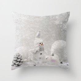 Cute snowman winter season Throw Pillow