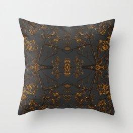 Golden Brocade Throw Pillow