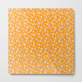 Festive Mango Mojito Orange and White Christmas Holiday Snowflakes Metal Print