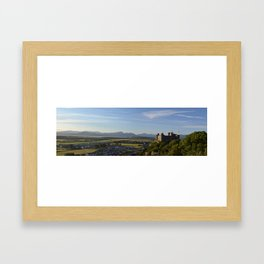 Harlech Castle and the Snowdonia mountains Framed Art Print