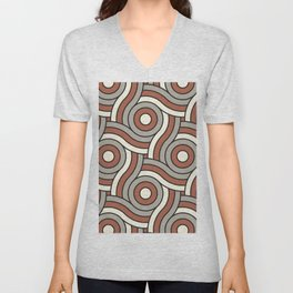Circle Swirl Pattern Ever Classic Gray 32-24 Red River 4-21 and Dover White 33-6 Unisex V-Neck