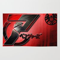 discount Area & Throw Rugs featuring Japanese Avengers by Chubbybuddhist