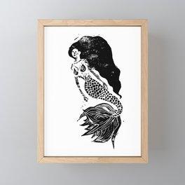 Mermaid Linocut Framed Mini Art Print
