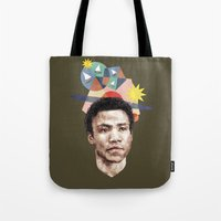 caleb troy Tote Bags featuring Troy by mycolour