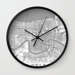 New Orleans Map Line Wall Clock