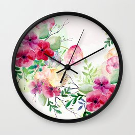 Vintage Flowers - Watercolor Floral Painting Wall Clock