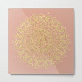 Bohemian Mandala in Rose Gold Metal Print