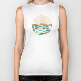 The Sun and The Sea - Gold and Teal Biker Tank