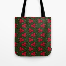 Pomegranate - Red and Green Doodle Pattern Tote Bag