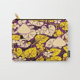 Grape Purple & Cream Garden Vines Yellow Design Carry-All Pouch