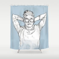 niall horan Shower Curtains featuring Niall Horan by Cécile Pellerin
