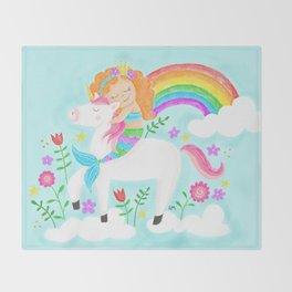 Unicorns, Mermaids & Rainbows...Oh My! Throw Blanket