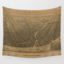 Aerial View of Port Huron, Michigan (1894) Wall Tapestry