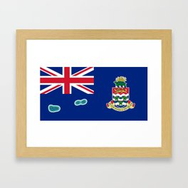 Cayman Islands Flag with Map of the Cayman Islands Framed Art Print