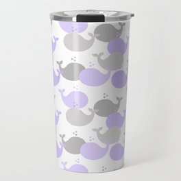 Whales Nautical Purple Lavender Gray Travel Mug