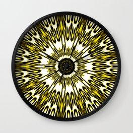 Yellow White Black Sun Explosion Wall Clock