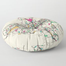 Colorful City Maps: Reno, Nevada Floor Pillow