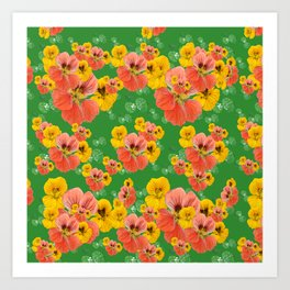 Floral pattern overload - yellow and  green Art Print