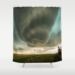 Beehive - Spiraling Storm Hovers Over Western Nebraska Landscape Shower Curtain