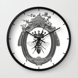 Queen Bee | Vintage Bee with Crown | Black, White and Grey | Wall Clock