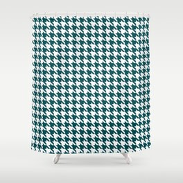 Teal Blue Classic houndstooth pattern Shower Curtain