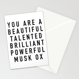 Beautiful Talented Brilliant Powerful Musk Ox Stationery Cards