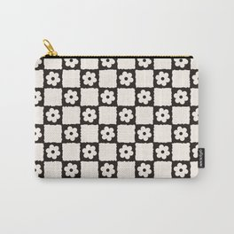 Retro Flower Checker in Black&White Carry-All Pouch