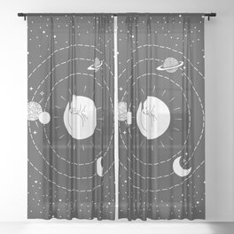 The Space Cat Sheer Curtain