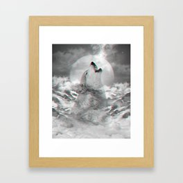Maybe the Wolf Is In Love with the Moon v.2 (3D Effect) Framed Art Print