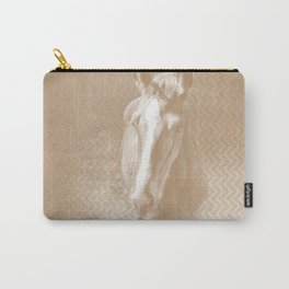 Horse emerging from the mist in iced coffee beige Carry-All Pouch