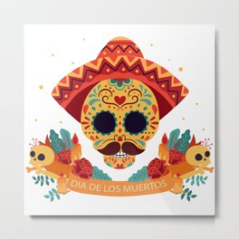 Mexican sugar skull Day of the dead illustration Metal Print