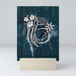 Polynesian - Hawaiian - Samoan Ocean Blue Tribal Tapa Artboard Mini Art Print