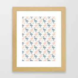 Trendy Pink and Blue Pastel Flamingo Silhouette Framed Art Print