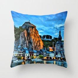 Belgium Houses Rivers Wallonia Night Cities Throw Pillow