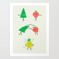 pineapple Art Prints featuring Pineapple by I Love Doodle