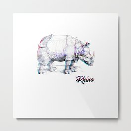 Rhino Glitch | Digital Art Metal Print