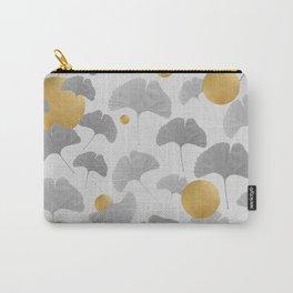 Golden Ginkgo Biloba Leaf Pattern Carry-All Pouch