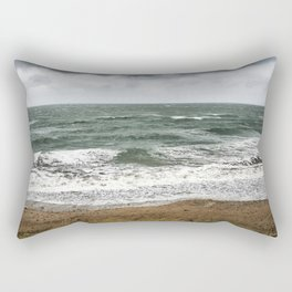 Land and sea under stormy clouds Rectangular Pillow