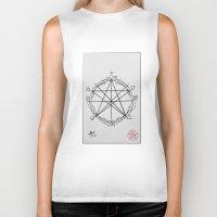 pentagram Biker Tanks featuring Elemental Pentagram by sparkplug95