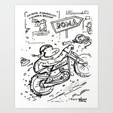 Apes in Vintage Italian Motorcycle Race Art Print
