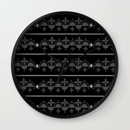 Black and Grey pattern abstract lines Wall Clock
